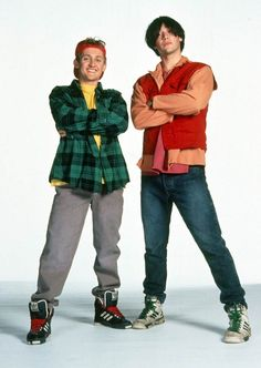 """Heroes: Bill S. Preston (Alex Winter) and Ted """"Theodore"""" Logan (Keanu Reeves) in Bill and Ted's Excellent Adventure/Bogus Journey"""