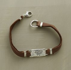 """198 NEW FORTITUDE SUEDE BRACELET -- Like the wise oak tree this bracelet's sterling charm is etched with """"grow strong"""" on the back. Deer suede and sterling silver with lobster clasp. Handmade in USA by Jes MaHarry. Leather Cuffs, Leather Jewelry, Metal Jewelry, Beaded Jewelry, Jewelry Bracelets, Jewelery, Silver Jewelry, Leather Bracelets, Bullet Jewelry"""