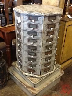 Antique Rotating Nut and Bolt Bin Cabinet
