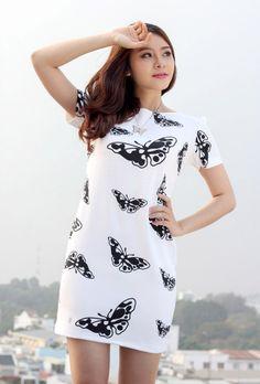 Cungmua - Đầm suông họa tiết bướm – Phong cách thời trang hiện đại kết hợp form suông ôm dáng nhẹ nhàng giúp bạn gái khoe được đường cong quyến rũ. Chỉ 199.000đ cho trị giá 398.000đ.
