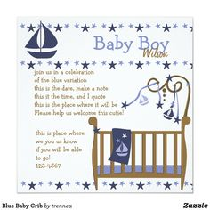 Blue Baby Crib Invitation Blue Crib, Baby Blue, Monogram Tote Bags, How To Make Notes, Baby Cribs, White Envelopes, No Time For Me, Invitations, Paper