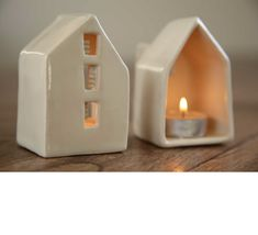 Ceramics...if I ever get to take a class! House votive candle holders - make!