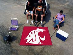 """The Washington State Cougars Tailgater Mat is a fantastic way to show team pride while tailgating, or even in your man cave or game room. The WSU Cougars Tailgater is an area rug measuring 60"""" x 72"""" m"""
