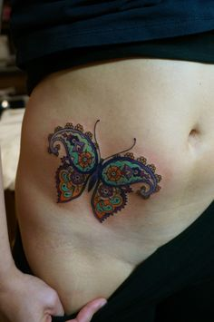 a mix of henna + flower power butterfly!