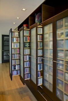 DVD storage can be difficult for small apartments and houses. Check out these 10 clever and easy DVD storage ideas for small spaces for a creativity push. House Ideas, Dream Library, Library In Home, Closet Library, Hallway Closet, Home Library Design, Future Library, Attic Library, Home Libraries