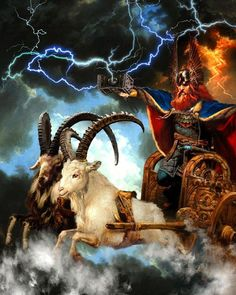 The goats Tanngrisnir and Tanngnjóstr pulling Thor's chariot in the skies.