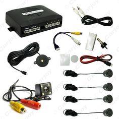 Car 4-sensor Parking Sensor With CCD 4-LED Night Vision Camera Rear View Reversing System  #CA1687