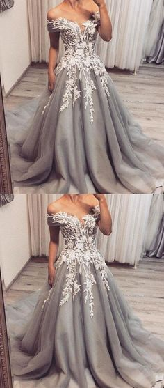 Custom Made Engrossing Prom Dresses Lace Gray Tulle Lace Applique Long Prom Dress, Gray Tulle Evening Dress Prom Dress With Train, Grey Prom Dress, Gorgeous Prom Dresses, Pretty Dresses, Lace Dress, Tulle Lace, Gray Formal Dress, Gray Gown, Awesome Dresses
