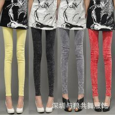Casual wear trousers solid color jeans nine exceptionally washed denim pants feet