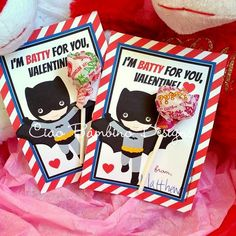 PRINTABLE Batman Valentine's Day Card for Lollipops / Superhero Lollipop Valentine Card / You Print / INSTANT DOWNLOAD by ciaobambino on Etsy https://www.etsy.com/listing/220812192/printable-batman-valentines-day-card-for