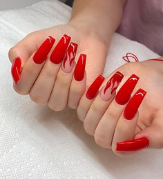 red nails / red nails & red nails acrylic & red nails design & red nails glitter & red nails coffin & red nails short & red nails acrylic coffin & red nails with rhinestones Red Acrylic Nails, Red Nail Art, Red Ombre Nails, Red Tip Nails, Blue Nail, Long Nail Art, Red Chrome Nails, Cherry Nail Art, Summer Acrylic Nails
