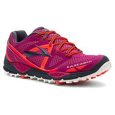 Brooks Cascadia 9..... Pretty awesome trail shoe. Very sturdy. Great for over-pronators.