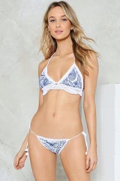 40c687516b nastygal Spaced Out Crochet Bikini Blue White Set
