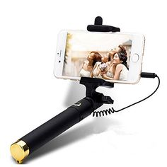 iPstyle Selfie Stick Portable 35mm Cable Stretch Selfie Monopod Stick Remote Control Shutter Phone Holder for iPhone 77Plus 66S 6 Plus Samsung Note 5 S6 Edge Plus Apple iOS Android Gold -- Find out more about the great product at the image link. Note: It's an affiliate link to Amazon