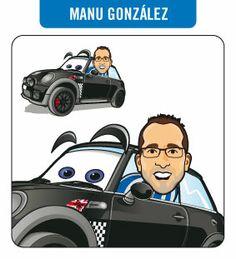 Caricatura de Manu González y su mini (encargo personal).