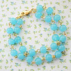 Aqua Glass Beads Double Strand Bracelet