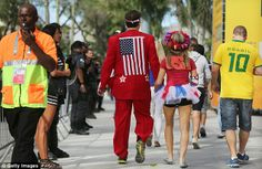 U.S. and Brazil fans walk outside the 2014 FIFA World Cup Brazil Group H match between Bel...