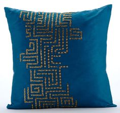 Go On Foreva - 16x16 Gold Bead Embroidered Teal Blue Taffeta Throw Pillow.