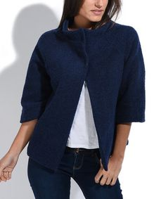 This Navy Blue Amanda Wool-Blend Pea Coat is perfect! #zulilyfinds