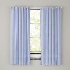 Blue Line Linen Curtain Panels The Land Of Nod