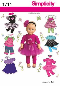 18 inch Doll Clothes Pattern Doll Tutu Pattern Doll by blue510, $4.00