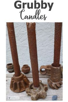 Make your own Grubby Candles from dollar store emergency candles for your own rustic beauty. Garden Junk, Garden Art, Emergency Candles, Fox Farm, Uses For Coffee Grounds, Rustic Crafts, Rusty Metal, Rustic Christmas, Dollar Stores
