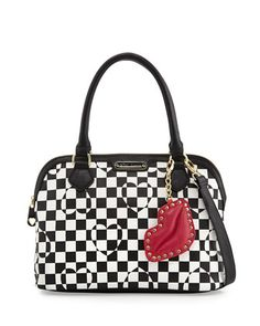 Heart+Checkerboard+Dome+Satchel,+Black/White+by+Betsey+Johnson+at+Neiman+Marcus+Last+Call.