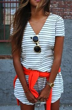 Stripes + pop of orange