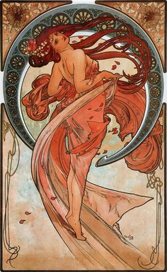 Alfons mucha - 1898 - dance - alphonse mucha - wikipedia, the free encyclop Mucha Art Nouveau, Alphonse Mucha Art, Art Nouveau Poster, Mucha Artist, Art And Illustration, Art Rose, Herz Tattoo, Tattoo Art, Pink Art
