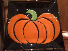 Fused glass Pumpkin plate
