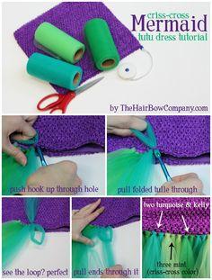 How to make a mermaid tail style tutu dress. DIY Mermaid Tutu Dress perfect for Halloween or birthday parties! Diy Tutu, Tulle Tutu, Tulle Poms, Little Mermaid Parties, The Little Mermaid, Robe Diy, Tutu Tutorial, Mermaid Diy, Diy Mermaid Costume