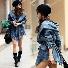 Women's Denim Trench Coat Hoodie Hooded Outerwear Jeans Jacket Coat