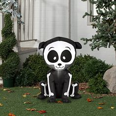 Airblown Inflatable Halloween Friendly Skeleton Puppy 3' tall lighted yard decoration -- Click image to review more details. (This is an affiliate link) #OutdoorHolidayDecorations