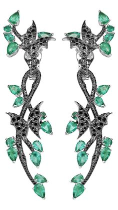 Stephen Webster: Fly By Night Couture Earrings with Black Diamonds and Gemfield Emeralds