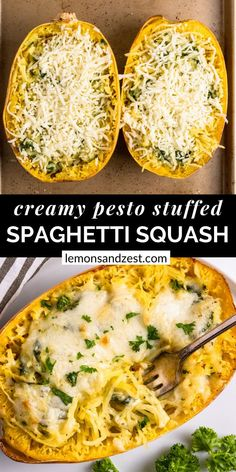 Vegetarian Spaghetti Squash Recipes, Pesto Spaghetti Squash, Veggie Spaghetti, Veggie Pasta, Veggie Meals, Tasty Vegetarian Recipes, Vegetable Recipes, Healthy Recipes, Pesto Recipe