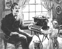 Remington Rand typewriter ad featuring Mark Twain and his daughter, Collier's Magazine, February 24th 1945