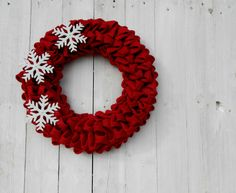 Red Burlap wreath  Christmas wreath with by MadeInBurlap on Etsy