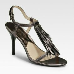 """Michael Kors Vienna sandal Metallic gunmetal, sexy fringed T strap with chains , ankle strap, 4"""" heel, worn several times, excellent condition Michael Kors Shoes Sandals"""