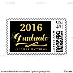 Black and Gold 2016 Graduation Party Postage Stamp
