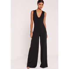 644291047b81 Missguided Tall Exclusive Ribbed V Neck Wide Leg Jumpsuit ( 45) ❤ liked on Polyvore  featuring jumpsuits