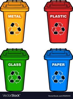 Four different colored recycling bins vector image on VectorStock Earth Day Activities, Science Activities, Science Projects, Recycling For Kids, Recycling Bins, Kindergarten Art Projects, School Projects, Body Preschool, Earth Day Crafts