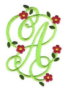 Floral Monogram-This would be beautiful for a White Monogrammed Bath Towel!