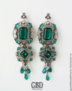 Серьги длинные ажурные - темно-синий,изумрудный,изумруд,зеленый,бутылочное стекло