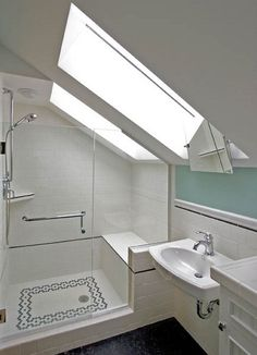 99 attic bathroom ideas slanted ceiling small baths в 2 Small Attic Bathroom, Tiny Bathrooms, Tiny House Bathroom, Upstairs Bathrooms, Modern Bathroom, Narrow Bathroom, Bathroom Mirrors, Bathroom Hardware, Bedroom Modern