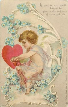 Full Sized Image: cupid faces left, heart, forget-me nots - TuckDB Valentines Greetings, Valentines Art, Vintage Valentines, Valentine Day Cards, Be My Valentine, Images Vintage, Vintage Cards, Courtly Love, Christmas Deco