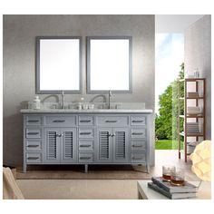 "Best Deal - Ariel Kensington 73"" Double Sink bathroom vanity Set in Grey"