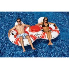 Solstice SuperChill Tube Duo Pool Float for Swimming Pools, Multicolor