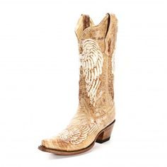 #CowboyCupidBeMine Corral Tan Embroidered Wing Cowgirl Boots