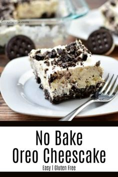 This No Bake Oreo Cheesecake Recipe is easy to make and incredibly delicious. T… This No Bake Oreo Cheesecake Recipe is easy to make and incredibly delicious. The creamy filling on a gluten free cookie crust is a must-try summer dessert! Cookies Sans Gluten, Gluten Free Chocolate Cookies, Dessert Sans Gluten, Easy Gluten Free Desserts, Easy Desserts, Gluten Free Baking Recipes, Easy Recipes, Dessert Oreo, Bon Dessert