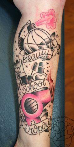 Make-up Pinsel Tattoo Ideen 33 Ideen Dope Tattoos, Girly Tattoos, Dream Tattoos, Body Art Tattoos, New Tattoos, Hair Tattoos, Nature Tattoo Sleeve Women, Sleeve Tattoos For Women, Beauty School Tattoos